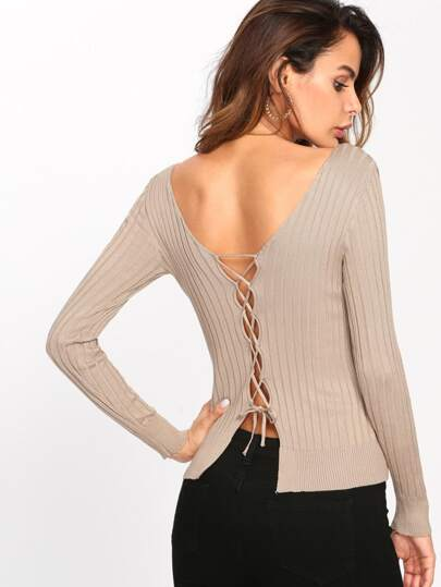 Deep V Neckline Lace Up Back Ribbed Knit Top