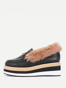 PU Platform Wedges With Faux Fur