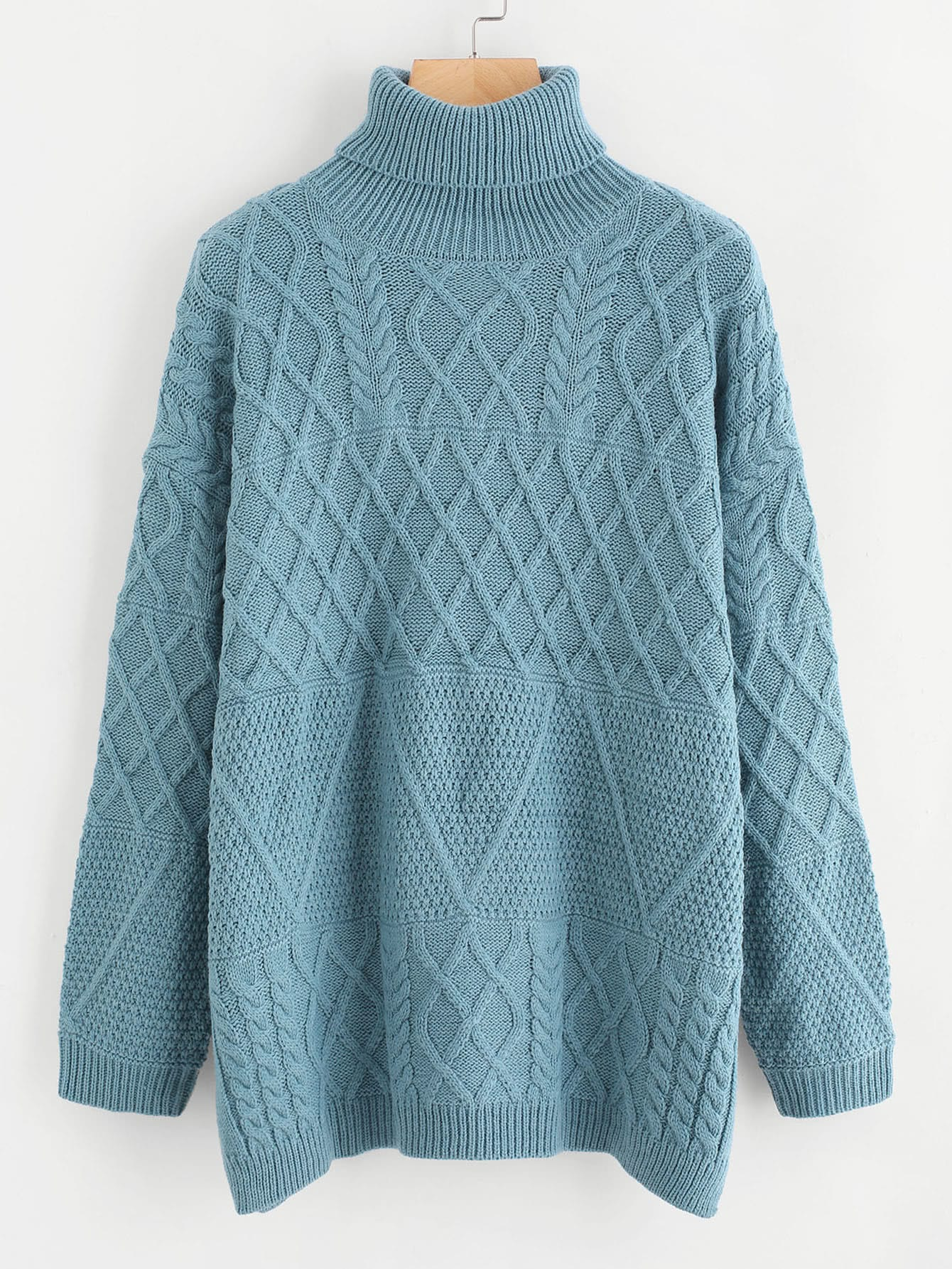 Side Slit Cable Knit Turtleneck Sweater turtleneck textured cable knit sweater