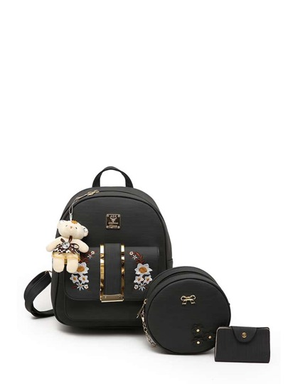 Bear Detail PU Combination Bag 3pcs