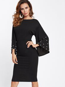 Pearl Beaded Bell Sleeve Tied Back Fitted Dress