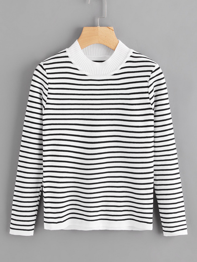 High Neck Striped Knit Sweater