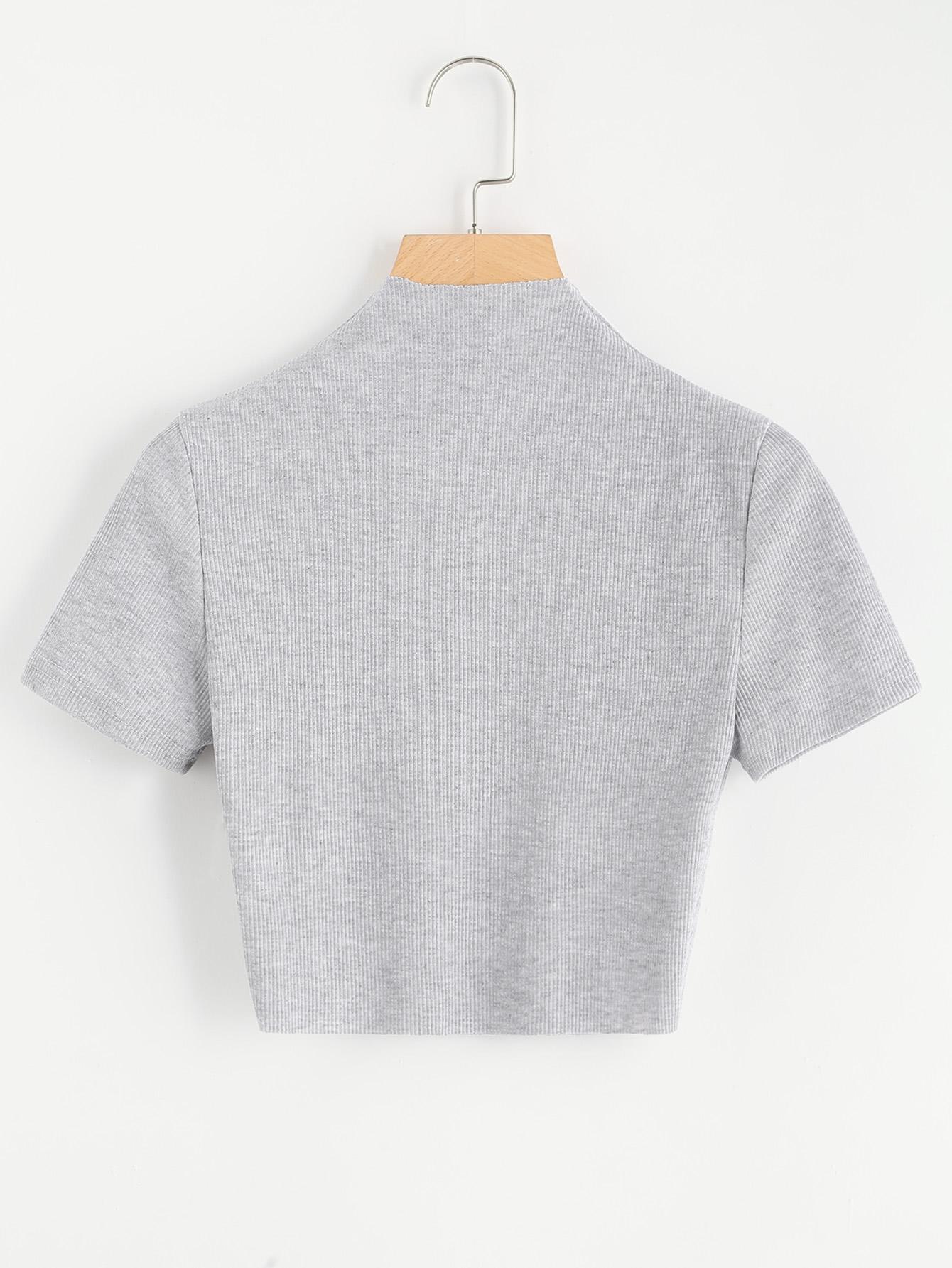 Купить Ребристая кроп футболка с высоким воротником, null, SheIn