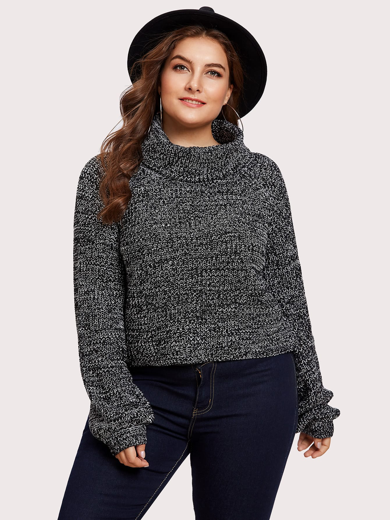 Rolled Neck Marled Knit Sweater bar iii new black white women s xl marled open knit scoop neck sweater $79 439