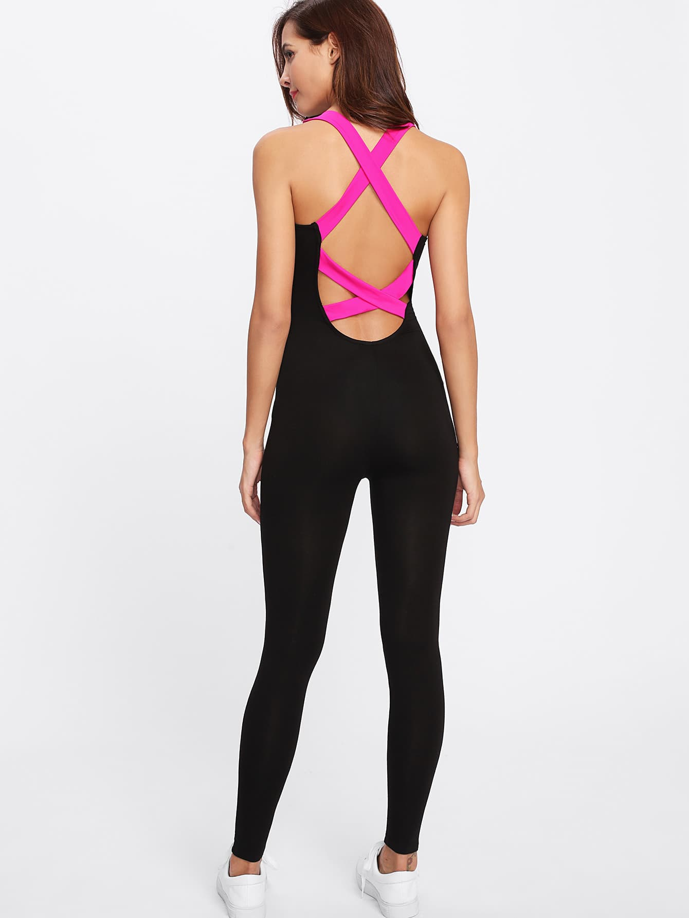 Contrast Crisscross Back Unitard Jumpsuit contrast binding caged back marled unitard jumpsuit