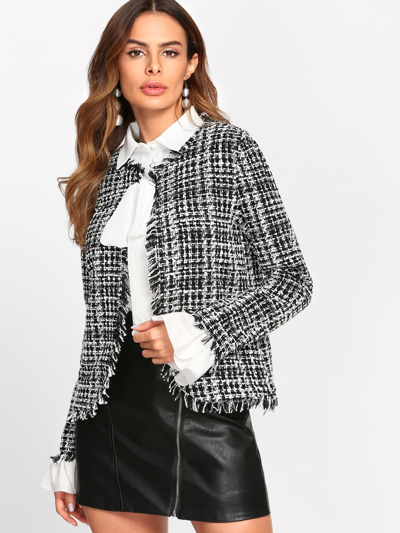 Frayed Trim Tweed Blazer