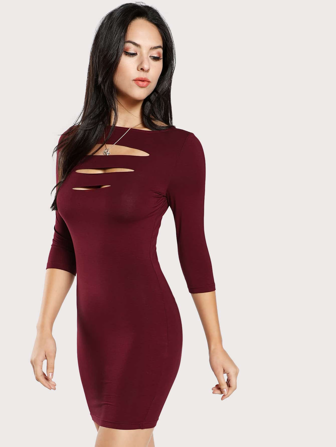Laddering Cut Out Front Fitted Dress laddering cut side skinny leggings