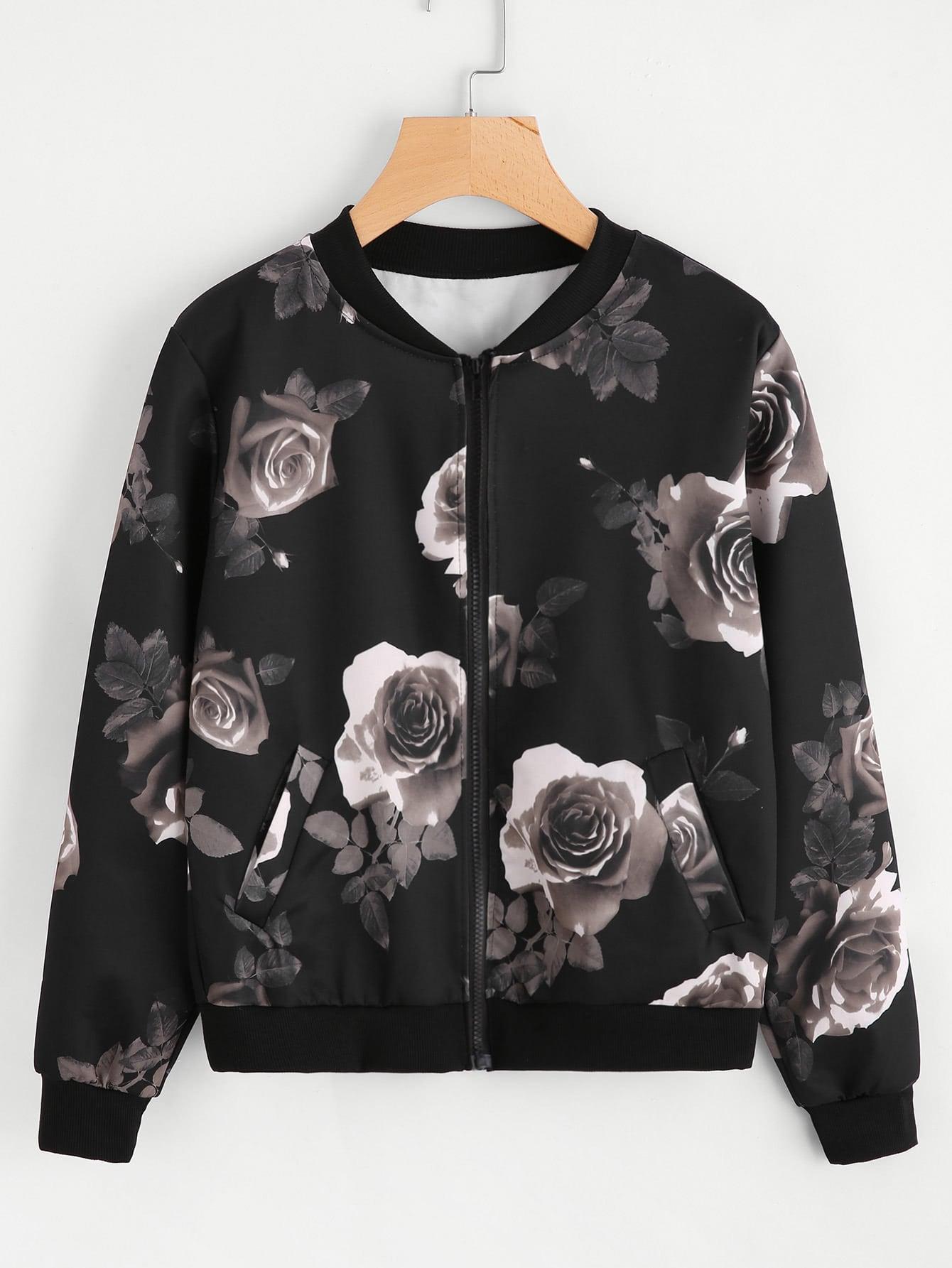 Random Floral Print Ribbed Trim jacket contrast ribbed trim jacket