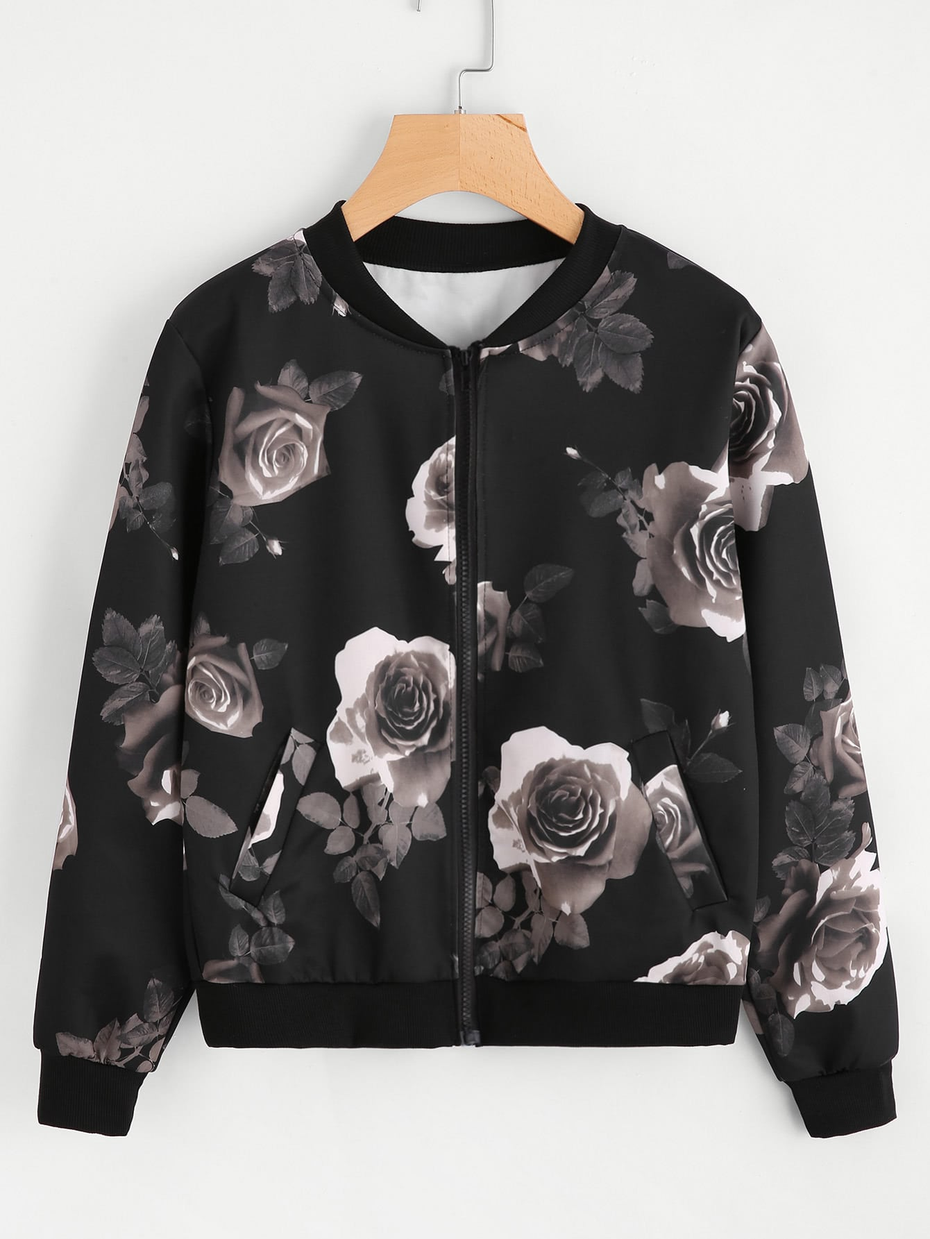 Random Floral Print Ribbed Trim jacket