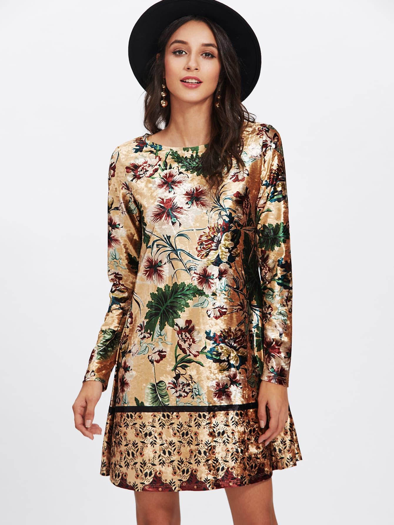 fashion sale, Mixed Print Velvet Dress