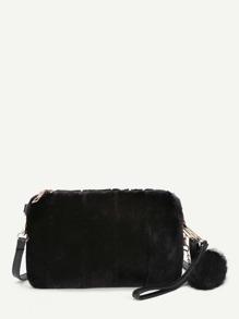 Faux Fur Overlay Crossbody Bag With Pom Pom