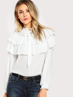 Pleat Flounce Embellished Tied Neck Blouse