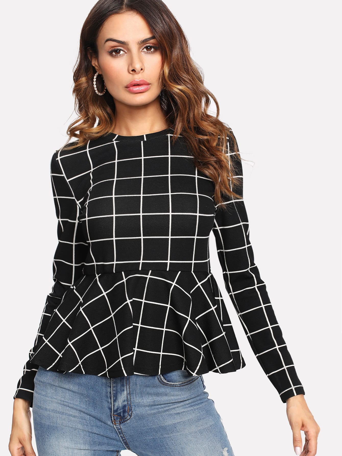 Grid Peplum Top contrast collar grid peplum top
