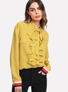 Flounce Front Striped Cuff Blouse