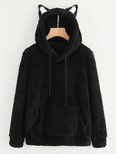 Ear Hooded Kangaroo Pocket Faux Fur Sweatshirt