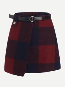 Plaid Asymmetrical Front Layer Skirt