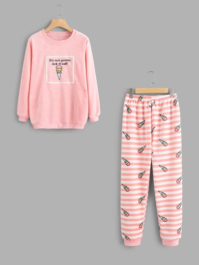 Ice Cream Print Pajama Top And Stripe Pants