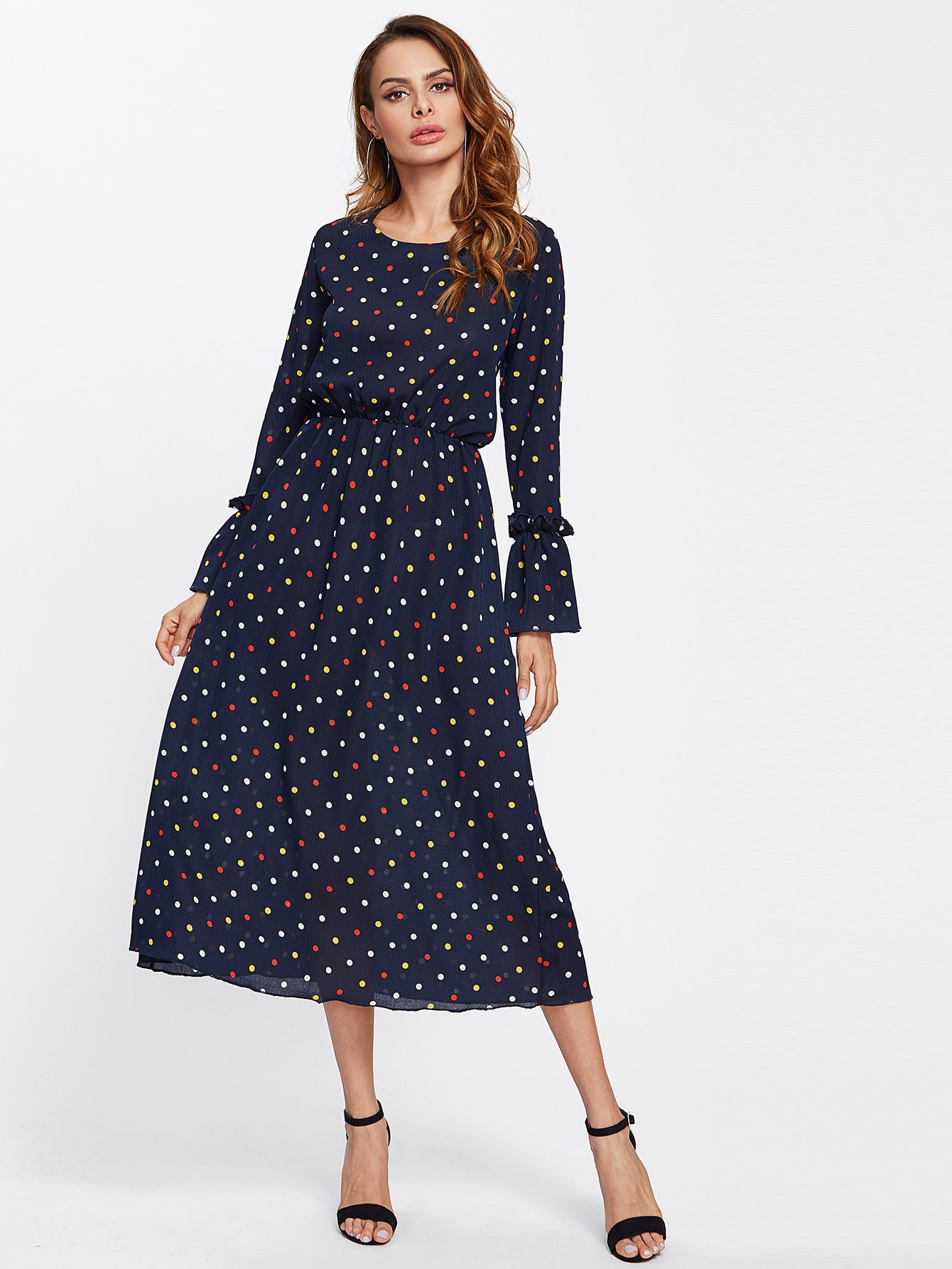 Frilled Bell Cuff Button Back Polka Dot Dress print front button frilled dress