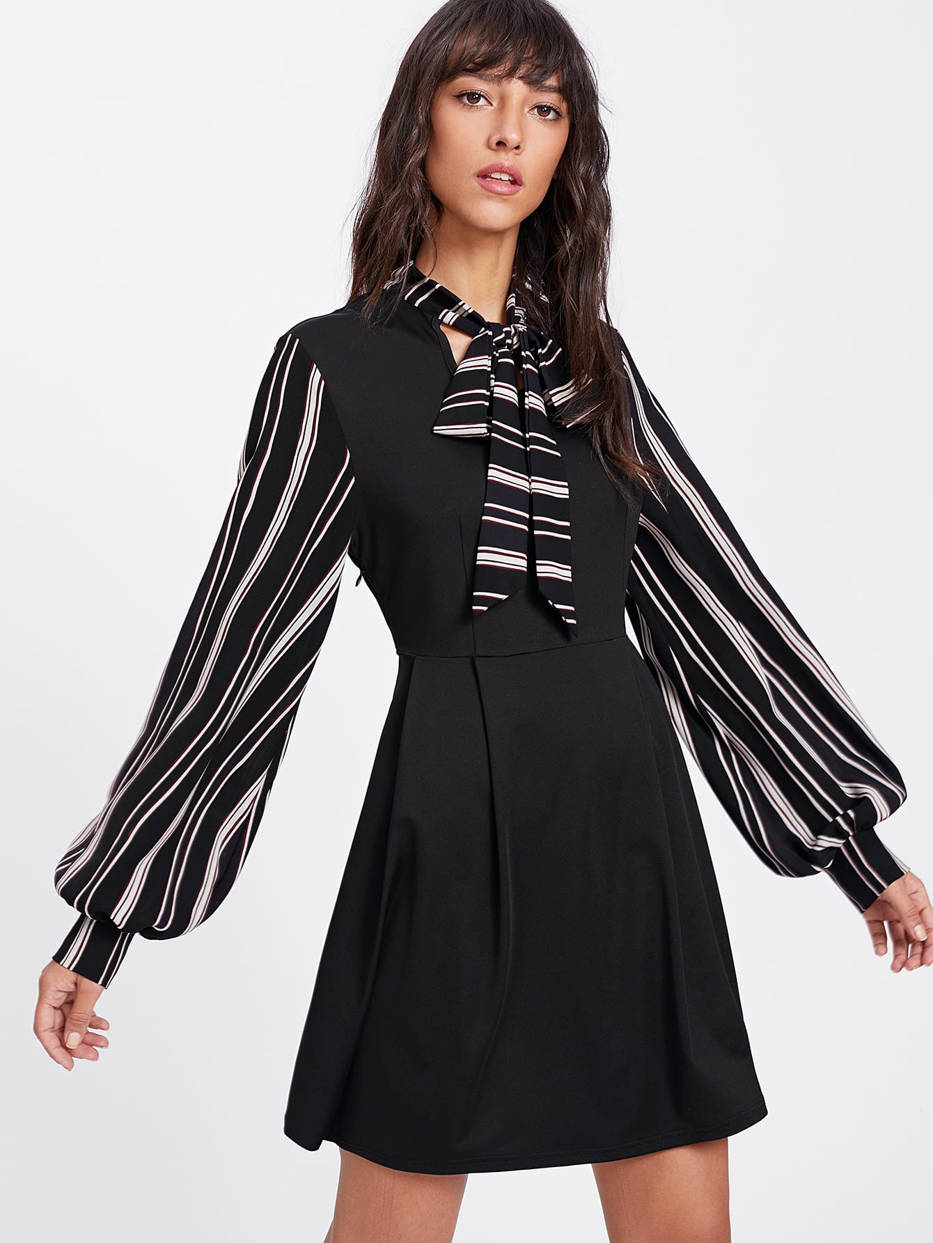 Striped Tie Neck And Bishop Sleeve Pleated Dress boxed pleated bishop sleeve tunic top