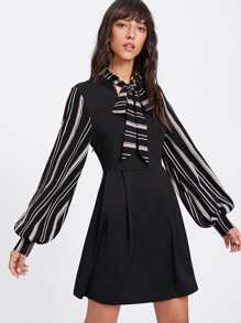 Striped Tie Neck And Bishop Sleeve Pleated Dress