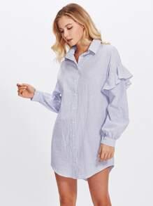 Flounce Embellished Sleeve Shirt Dress