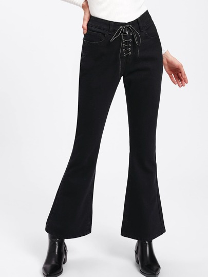 Grommet Lace Up Flared Hem Jeans