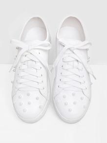 Zapatillas con cordón con diseño de perlas artificiales