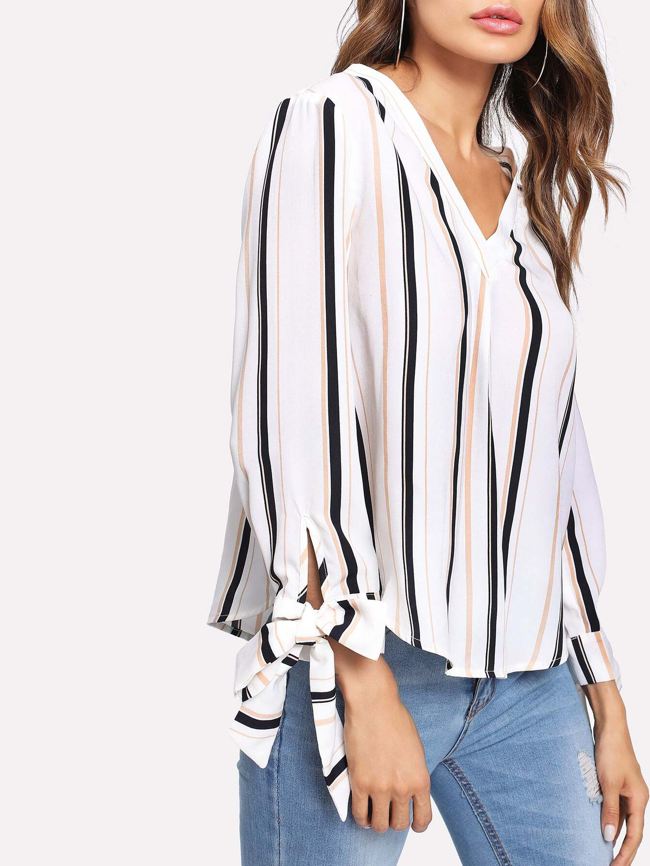 Bow Tied Cuff Vertical Striped Blouse elastic trumpet cuff bow tied blouse