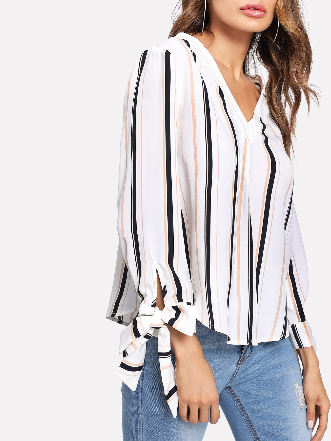 Bow Tied Cuff Vertical Striped Blouse blouse171121708