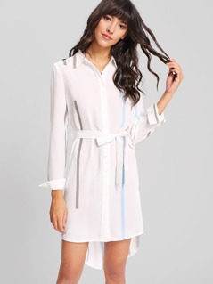 Self Belted Striped Shirt Dress