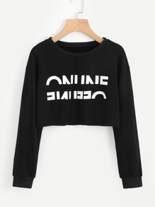 Letter Print Raw Hem Crop Pullover