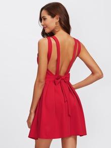 Bow Embellished Open Back Fit & Flare Dress