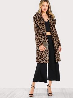 Leopard Print Faux Fur Coat LEOPARD
