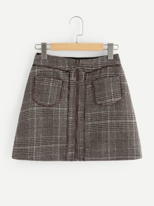Ring Zipper Up Plaid Skirt