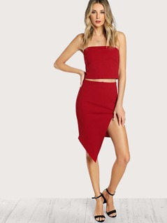 Solid Bandeau Top & Split Skirt Co-Ord