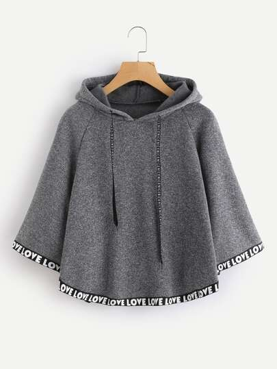 Letter Print Tape Hem Hooded Cape Coat
