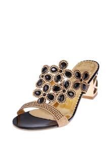 Rhinestone Decorated Block Heeled Sandals
