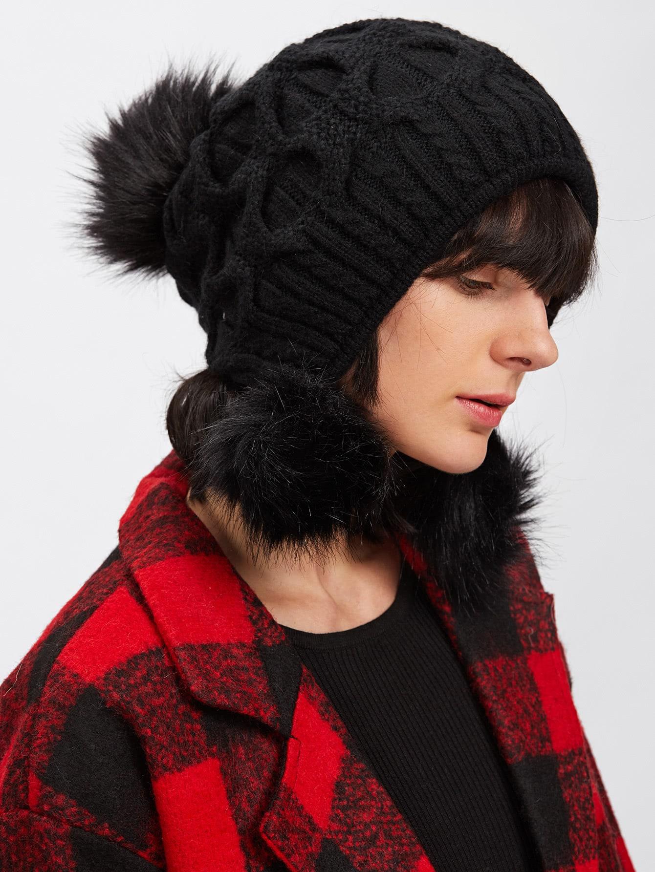 Pom Pom Cable Knit Beanie Hat