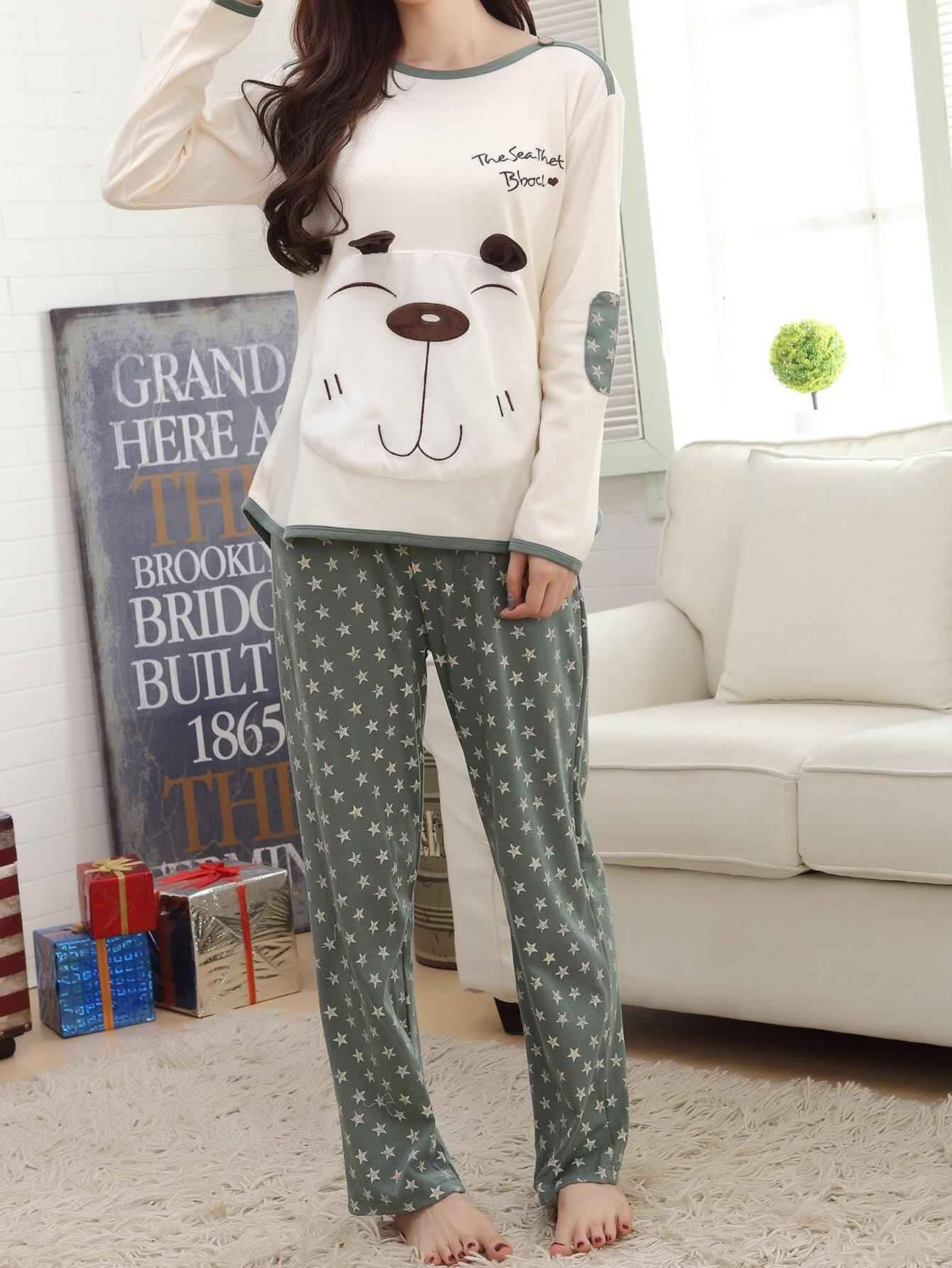 Contrast Trim Cartoon Pocket Tee & Pants Pj Set