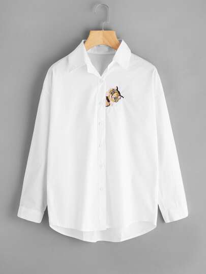Cat Embroidered Single Breasted Shirt
