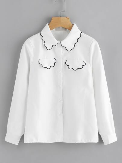 Embroidered Trim Single Breasted Shirt