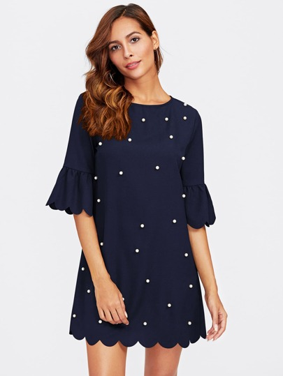 Trumpet Sleeve Pearl Beading Scalloped Dress