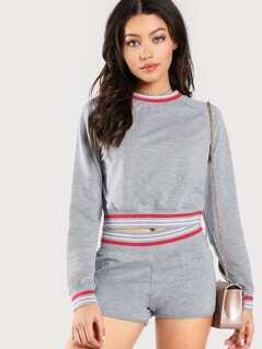 Striped Trim Pullover & Shorts Loungewear Set