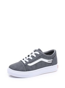 Striped Lace Up Low Top PU Sneakers