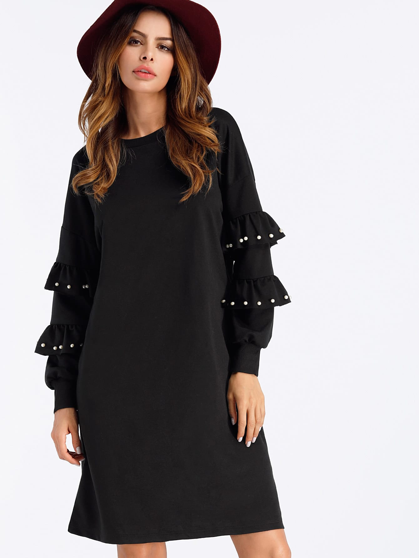 Frill Layered Pearl Detail Sweatshirt Dress pearl detail frill off shoulder dress