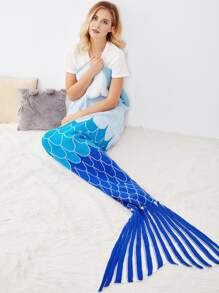 Fish Scale Pattern Striped Fish Tail Mermaid Blanket