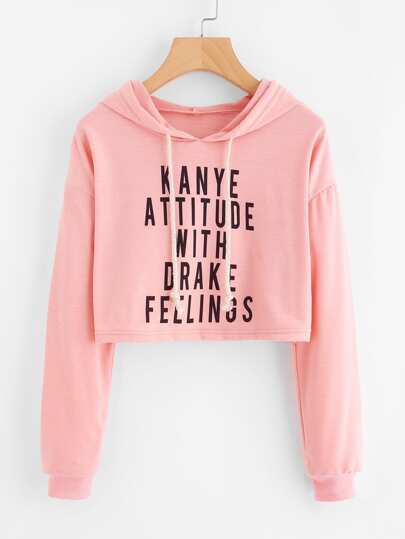 Drop Shoulder Slogan Print Crop Hoodie