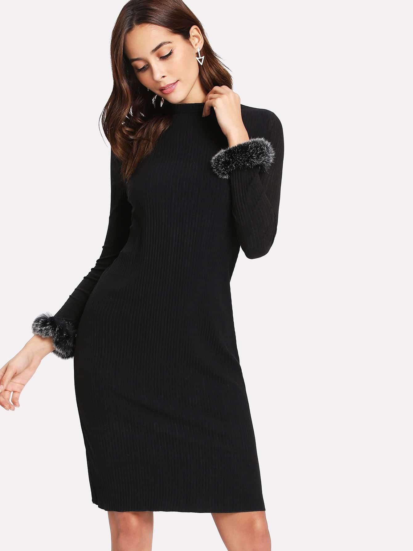 Contrast Faux Fur Cuff Ribbed Dress dress171128103