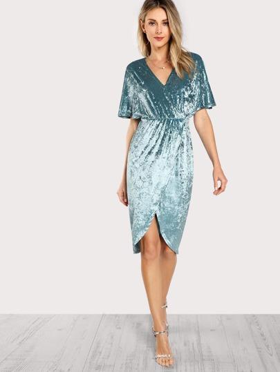 Dolman Sleeve Crushed Velvet Wrap Dress