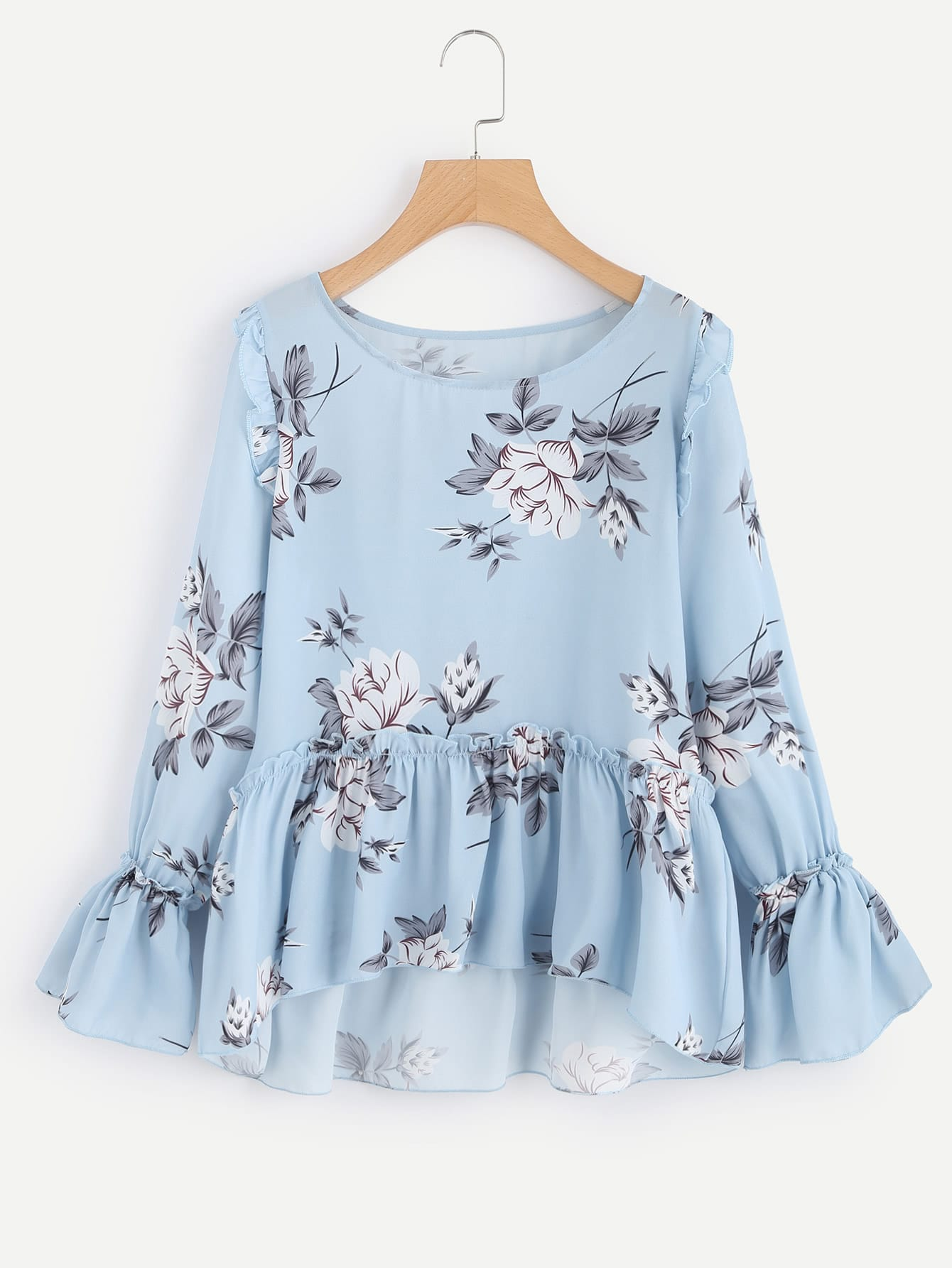 Flower Print Trumpet Sleeve Frilled Smock Top автокресло maxi cosi rodi fix air protect river blue